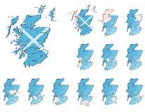 Mapas de las provincias de Escocia ilustración del vector