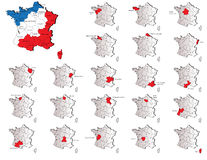 Mapas de las provincias de Francia Imágenes de archivo libres de regalías