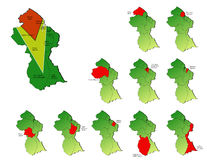 Mapas de las provincias de Guyana Fotografía de archivo