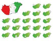 Mapas de las provincias de Hungría Imagenes de archivo