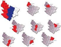 Mapas de las provincias de Serbia Imagen de archivo libre de regalías