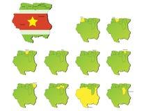 Mapas de las provincias de Suriname Fotografía de archivo libre de regalías