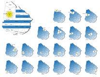 Mapas de las provincias de Uruguay Foto de archivo libre de regalías