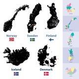Mapas de los países de Scandianvian Fotografía de archivo libre de regalías