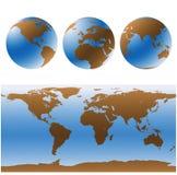 Mapas de mundo ajustados (vetor) Fotos de Stock
