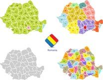 Mapas 1 de Roménia ilustração stock