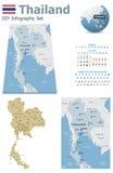 Mapas de Tailandia con los marcadores stock de ilustración