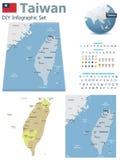 Mapas de Taiwán con los marcadores Imagenes de archivo