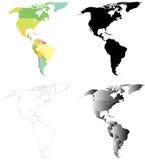 Mapas del norte y de Suramérica Fotos de archivo