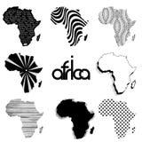 Mapas del vector de la silueta de África Fotos de archivo libres de regalías