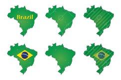 Mapas do futebol de Brasil Foto de Stock Royalty Free