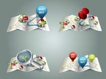 Mapas dos bens imobiliários Fotos de Stock Royalty Free