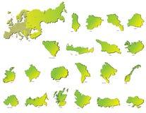 Mapas dos países de Europa Foto de Stock Royalty Free