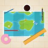 Mapas en la tabla Foto de archivo libre de regalías