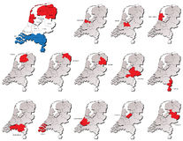 Mapas holandeses das províncias Fotos de Stock