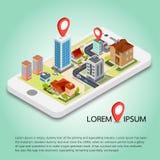 Mapas móviles isométricos planos de la navegación GPS 3d Foto de archivo libre de regalías