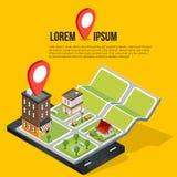 Mapas móviles isométricos planos de la navegación GPS 3d Imagen de archivo