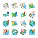 Mapas y iconos de la navegación - sistema 1 Foto de archivo libre de regalías