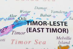 Mapf of East Timor or Timor-Leste. Timor-Leste, or East Timor, a Southeast Asian nation occupying half the island of Timor, is ringed by coral reefs teeming royalty free stock photo