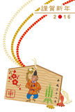 Małpia Drewniana plakieta - Japońska nowy rok karta Obrazy Royalty Free