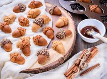 Closeup of Maple Acorn Cakelets, acorn shape cookies on wood slice serving board, tray. Maple Acorn Cakelets, acorn shape cookies on wood slice serving board Stock Photos