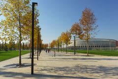 Maple alley in the modern city Park Krasnodar near the stadium of the football club of the same name, built at the expense of Russ. Krasnodar, Russia-October 19 royalty free stock image