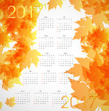 Maple autumn calendar 2017. Vector illustration Royalty Free Stock Image
