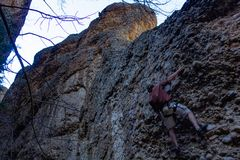 Maple canyon, utah rock climbing trip on cobb. 4.8.2018 - Maple Canyon, Utah Rock climbing trip on Cobb royalty free stock photos