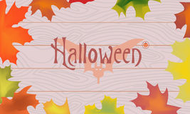 Maple color fall leaves, pumpkin, bat, halloween inscription in the center on wooden planks background.  stock illustration