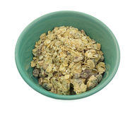 Maple flavored oatmeal with pecans and raisins in bowl Stock Photos