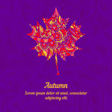 Maple leaf with abstract pattern for autumn design. Template for card, cover or invitation Royalty Free Stock Images