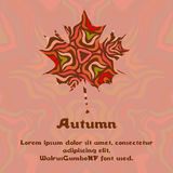 Maple leaf with abstract pattern for autumn design. Template for card, cover or invitation Royalty Free Stock Photography