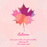 Maple leaf with abstract pattern for autumn design. Template for card, cover or invitation Royalty Free Stock Image