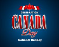 Maple leaf, Canadian national coat of arms. Holiday design, background with 3d texts, maple leaf and national flag colors, for first of July, Canada National day Stock Photos