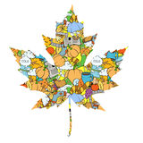 Maple leaf design elements vector illustration. Autumn, colorless, black and white Royalty Free Stock Image
