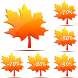 Maple leaf discount labels Stock Photography