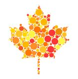 Maple leaf dotted vector design isolated on white background Royalty Free Stock Images