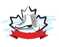 Maple Leaf Figure Skates Royalty Free Stock Photos