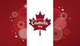 Maple leaf with firework poster for celebrate the national day of Canada. Happy Canada Day card. Canada flag, fireworks. Red maple leaf. vector illustration vector illustration