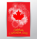 Maple leaf with firework poster for the national day of Canada Stock Images