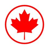 Maple leaf icon in the circle royalty free illustration