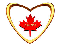 Maple Leaf Inside Of Gold Heart. Stock Photography