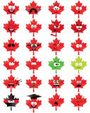 Maple-leaf-shaped smiley faces Stock Photo