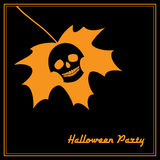 Maple leaf with skull halloween party. Invitation to Halloween party. Vector illustration of a maple leaf with skull symbol. Orange on black, square format Royalty Free Stock Images