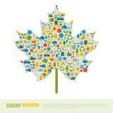 Maple Leaf Symbol. Flat Ecology Icons Concept Royalty Free Stock Photo