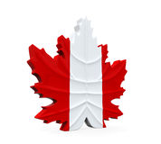 Maple Leaf Symbol. Isolated on white background. 3D render Royalty Free Stock Photos
