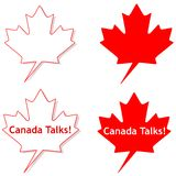 Maple Leaf Talk Bubble. An illustration featuring cartoonish maple leaf talk bubble blank and with sample Stock Photos