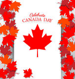 Maple Leaf and text  for the national day of Canada Royalty Free Stock Images