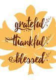 Maple leaf vector illustration with Grateful Thankful Blessed lettering design Royalty Free Stock Image