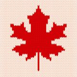 Maple leaf on white - Seamless knitting pattern Royalty Free Stock Images